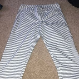 Blue and white striped pants